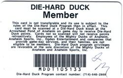 Anaheim Mighty Ducks Die-Hard Program Member Goal Card Loyalty Hockey Sports NHL2