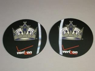 Los Angeles Kings Round Drink Coasters - Crown Logo, Verizon Sponsor Logo, Black