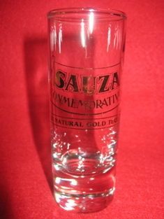 SAUZA Tequila Tall Shot Glass Gold Printed Conmemorativo Natural Gold Tequila1